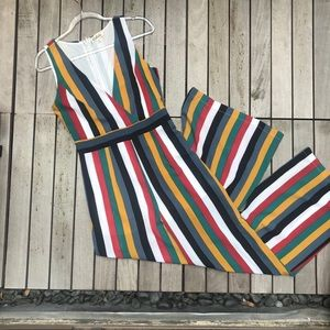 LISTICLE Multicolor Stripe VNeck Sleeveless Jumper